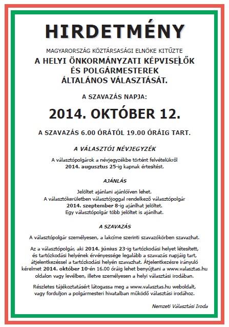 Hirdetmény - A HELYI ÖNKORMÁNYZATI KÉPVISELŐK ÉS POLGÁRMESTEREK ... 8c10e923eb